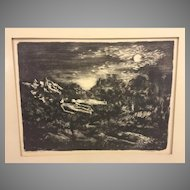 "Vintage Martin Jackson Nightscape Wood Print Lithograph ""Moon Dreamers"" 12/3"