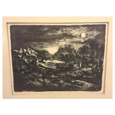 "Vintage Martin Jackson Nightscape Wood Print Lithograph ""Moon Dreamers"" 12/3"
