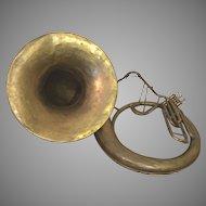 Antique A K Huttl Graslitz Brass Tuba 3 Valves w/ Removable Bell Germany Circa 1880s
