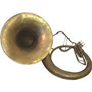 Antique A K Huttl Graslitz Brass Tuba 3 Valves w/ Removable Bell Germany Circa 1880s