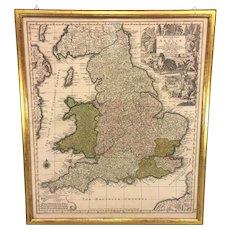 Antique Map of England Britannia sive Anglia Regnum Anglo Saxonum Imperia by Carthographer Matthias Seutter Framed 1735