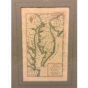 """Antique Mason & Dixon 1769 Hand Colored Engraving of """"A Map of that Part of America where a Degree of Latitude was Measured for the Royal Society"""" by Charles Mason & Jeremiah Dixon Framed & Matted"""