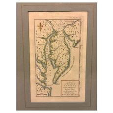"Antique Mason & Dixon 1769 Hand Colored Engraving of ""A Map of that Part of America where a Degree of Latitude was Measured for the Royal Society"" by Charles Mason & Jeremiah Dixon Framed & Matted"