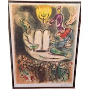 "Marc Chagall Ltd Edition Lithograph ""Moses Called the Elders and Presents Tablets of Law""  from the Story of the Exodus 1966 74/375"