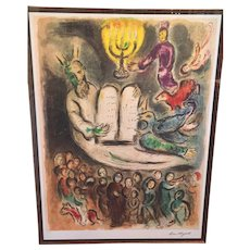 """Marc Chagall Ltd Edition Lithograph """"Moses Called the Elders and Presents Tablets of Law""""  from the Story of the Exodus 1966 74/375"""