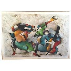 David Schluss Ltd Edition Serigraph Harmony 63/300 Framed & Matted Logo Art NY