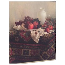 Russian/Israeli Signed Oil on Canvas - Still Life Signed by Artist (Maria Manata (Matata) Nudga) Other Markings & Stamp on Back Silver Wood Frame