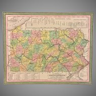 "Antique ""A New Map of Pennsylvania"" 1850 Map Done by Samuel Augustus Mitchell, Published by Thomas Cowperthwait (Framed to Museum Standards in 1991)"