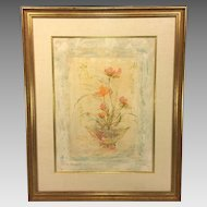 Edna Hibel Limited Edition Floral Print 165/175 Matted & Framed Newman Galleries Philadelphia, PA