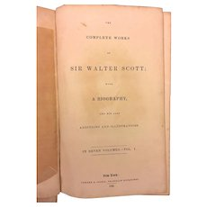 2 Antique Books About Sir Walter Scott Early 1800s Memoirs & the Complete Works Vol 1 by John Lockhart