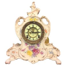 Antique Ansonia Porcelain Royal Bonn Case Clock La Vendee Model 1880s w/ Open Escapement  Running  & Striking Gold & White w/ Flowering
