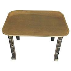 Vintage Baker Server Table Fixed Brass Top Stenciled Flowering on Legs Elegant Look