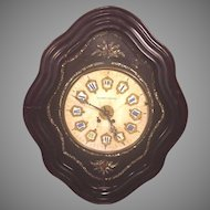 Antique French Boulle Wall Clock Black Ebonized Case with Stone Face  Not Running Schmidt & Kleiser