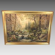 Antique Oil Painting of Elk in Forest Scene by S P Geiger Canvas Over Panel Framed Early 1900s Signed by Artist