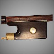 Antique Lupot Violin Bow Pernambuco Wood Round Shaft Beautiful Tip Frog Winding & Adjustment Screw