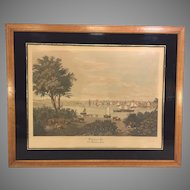Vtg Original Raoul Varin Pencil Signed Limited Edition Proof of 1831 Baltimore MD Aquatint  Whetstone Point Framed 1931 Printed by A Ackermann & Son of New York