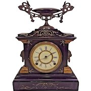 Antique Ansonia Slate and Iron Case Mantel Clock La France Model  Beautiful Urn Topper Runs & Strikes