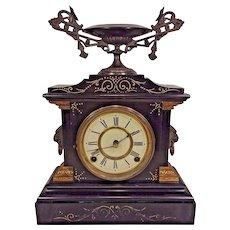 Antique Ansonia Slate and Iron Case Mantel Clock La France Model  Beautiful Urn Topper Runs & Strikes
