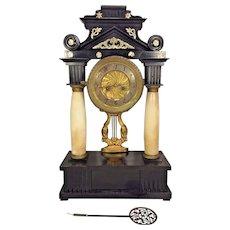 Antique Classical Portico Empire Wood Case Mantel Clock Running & Striking