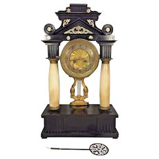 Antique Classical Portico Empire Wood Case Mantel Clock Running & Striking