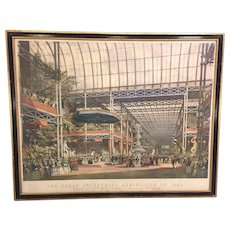 "Antique 1851 Great Industrial Exhibition Hand Colored Lithograph Entitled ""Inauguration"" of the Crystal Palace w/ Queen Victoria & Prince Albert in Attendance After Drawing by John Nash"