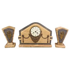 Antique 19th C French Onyx/Marble Mantle Clock and Garniture Set Running Perpignon Noted on the Clock Face