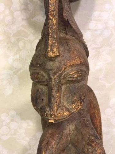 Antique African Carved Wood Dogon Figure Of Woman Sitting