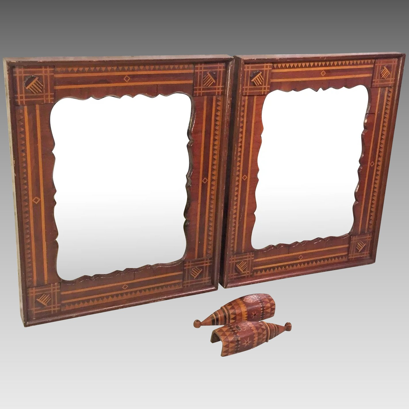 Antique Pair of Tramp Art Style Mahogany Mirrors Inlaid and Scallped ...