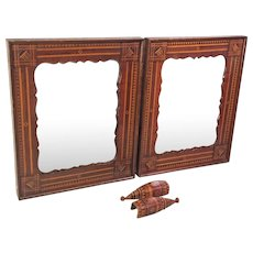 Antique Pair of Tramp Art Style Mahogany Mirrors Inlaid and Scallped Woods  w/ Pair of Matching Bracket Mounts