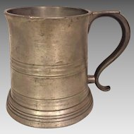 Antique Reed & Barton Pewter Cyclist Tankard  Great Image of Racer on glass bottom of Tankard