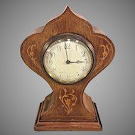 Antique Art Nouveau Inlaid Fruitwood Shelf Clock France Running