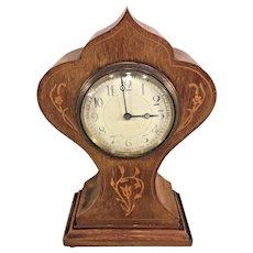 Antique Art Nouveau Inlaid Fruitwood Shelf Clock France Running