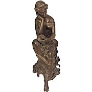 Antique Continental Bronzed Spelter Figural of Maiden on Bench w/ Easel Unmarked   Topper or Clock Mount