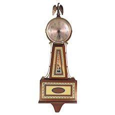 Seth Thomas Banjo Clock Quartz Running w/ Eagle Finial Brass Lacquer Center Rails Nice Tablets