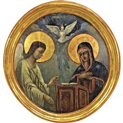 Vintage Russian School The Annunciation Oil on Panel  Angel Gabriel Speaking to Mary Ornate Gold Colored Wood Frame