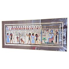 Vtg Large Egyptian Print on Papyrus in Ancient Manner 20th Century Framed and Matted