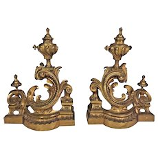 Vintage Pair of Gilt Bronze Louis XVI Style Chenet Firedogs Gold Coloring Great Details