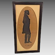 Antique Unique Full Body Silhouette of  President Thomas Jefferson  Full Length Figure Framed & Matted