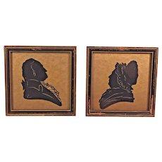 Antique Silhouettes of Martha & George Washington in Old Frames I