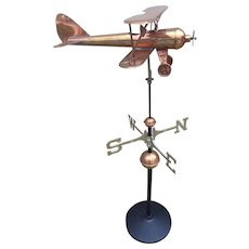 Copper Replica Biplane Weathervane on an Iron Base  Stand Nicely Detailed Good Directions Inc.