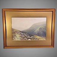 British School Watercolor & Tempera Painting Signed The Doon Valley Exmoor Lower Himalayas  Framed & Matted