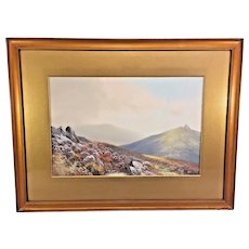 British School Watercolor & Tempera Painting Signed Donhmoor Lower Himalayas Framed