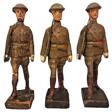 3 Pieces of Lineol Composition Soldiers US WWI Infantry Figures Swords Drawn Germany