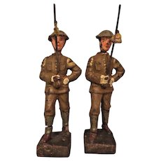 2 Pieces of Lineol Comp. Soldiers US WWI Infantry Lances at Present Arms Germany