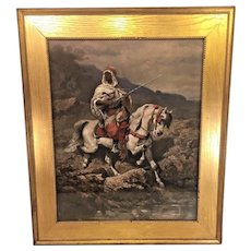 Antique Oil Painting of Arabian Knight on Horseback by Adolf Schreyer in Wood Frame