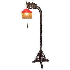 Vintage Asian Carved Wood Dragon Floor Lamp  w/ Red Silk Shade & Gold Tasseling Ornately Detailed Lamp Works! Unknown Maker (#2 of 2)