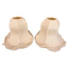 Vintage Pair of White Silk Lamp Shades w/ Tassels