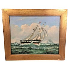 Antique Robert Sanders Oil Painting of Two Masted British Warship Canvas w/ Cannon in Position  Mounted in  Wood Frame