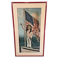 """Antique Victorian or WWI Bond Painting Entitled """"Our Flag, Always in Front""""  WWI Era Unknown Artist Newer Frame"""