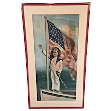"Antique Victorian or WWI Bond Painting Entitled ""Our Flag, Always in Front""  WWI Era Unknown Artist Newer Frame"